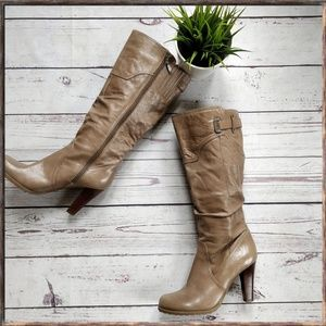 GUESS Tan Slouchy Leather Tall Boots, sz 8